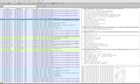 Wireshark console view